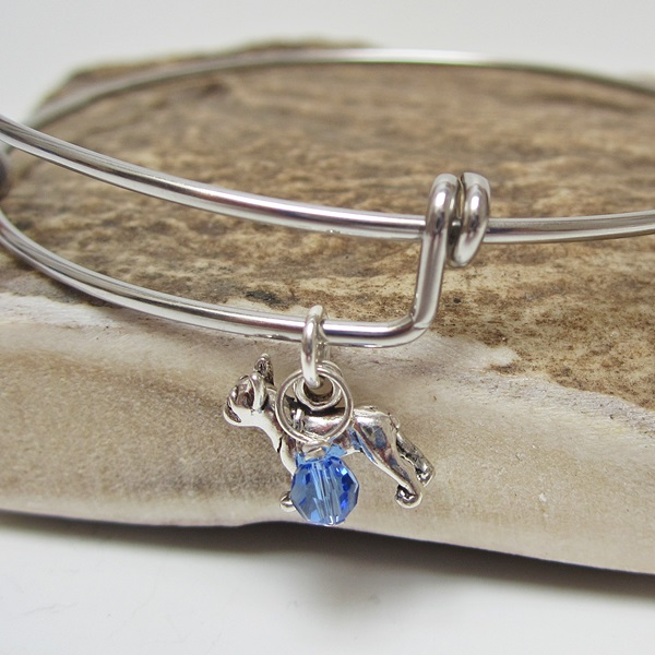 "French Bulldog Mini Dangle Stackable Bangle Bracelet (2.5""-3\"")"