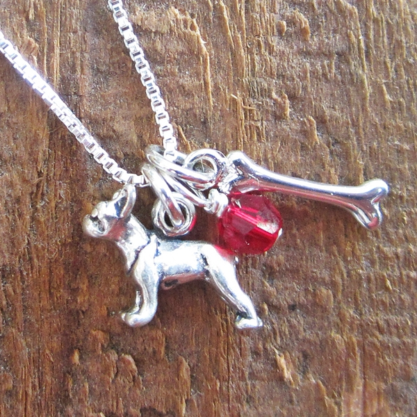 French Bulldog Dog Bone Mini Sterling Silver Necklace