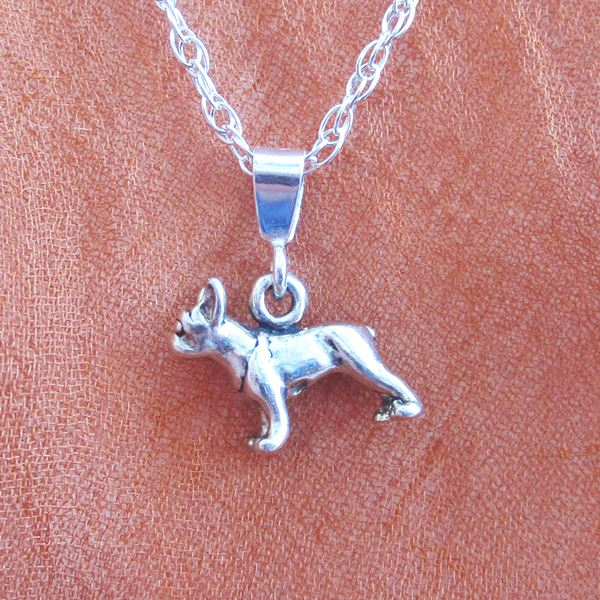 French Bulldog Mini Pendant Charm and Necklace
