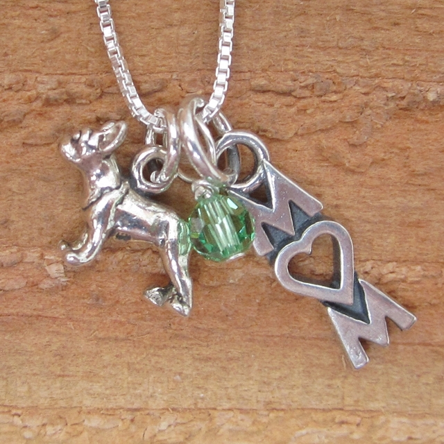 French Bulldog Mom Mini Sterling Silver Necklace