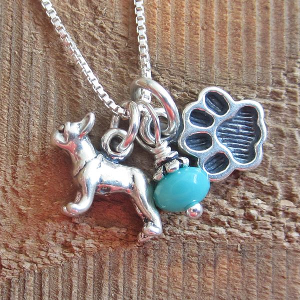 French Bulldog Mini Paw Print Sterling Silver Necklace