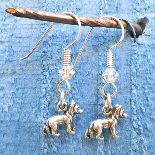 German Shepherd Sterling Silver Earrings