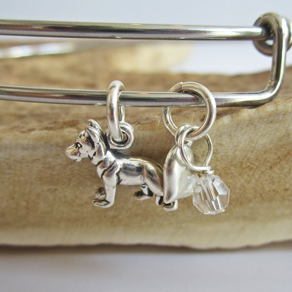 "German Shepherd Mini Heart Stackable Bangle Bracelet (2.5""-3\"")"