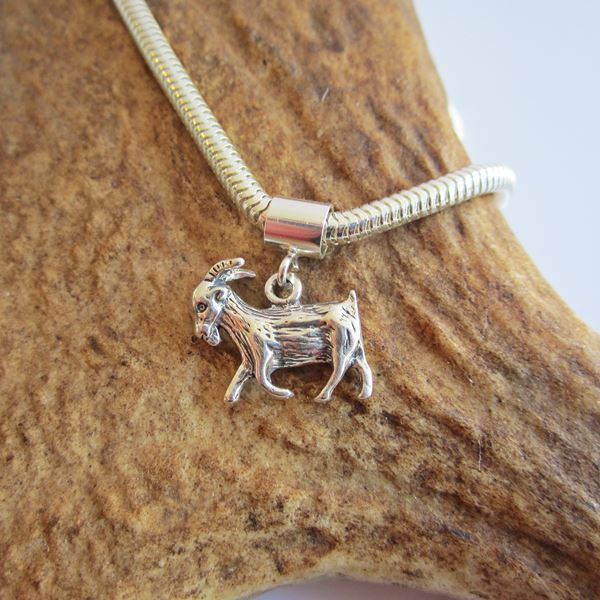 Goat Mini Sterling Silver European-Style Charm and Bracelet