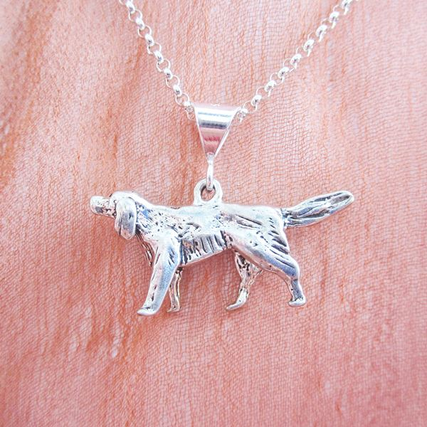 Golden Retriever Large Pendant Charm and Necklace