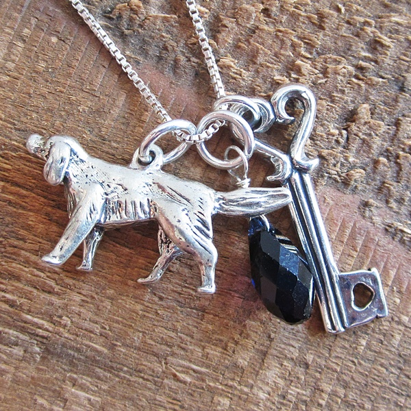 Golden Retriever Large Key To My Heart Sterling Silver Necklace