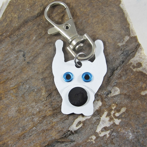 Great Dane Cropped Ears White Metal Rivet Tag/Keychain