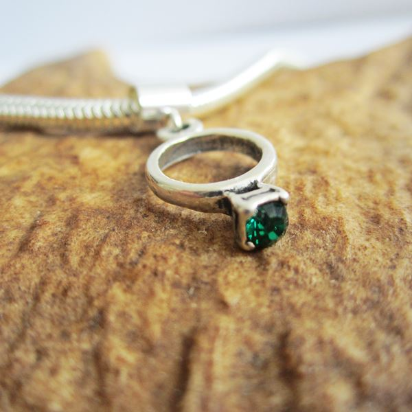 Green Birthstone Ring European-Style Charm and Bracelet