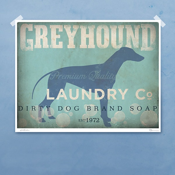 Greyhound Laundry Company Silhouette 8x10 Giclee Print