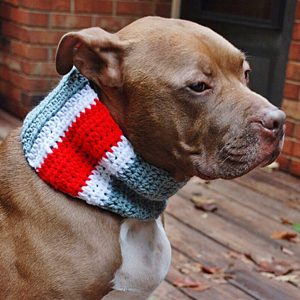 Red, Grey and White Striped Crochet Cowl