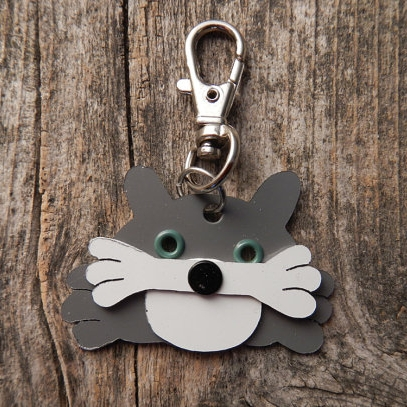 Kitty Cat Metal Rivet Tag/Keychain