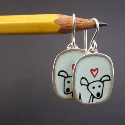 Happy Pibble Sterling Silver and Enamel Earrings