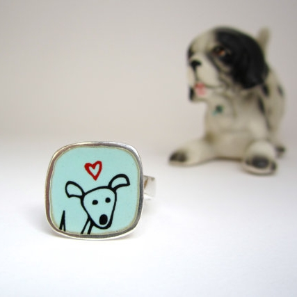 Sterling Silver and Enamel Happy Pibble Ring