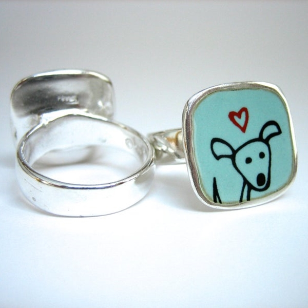 Happy Dog Sterling Silver and Enamel Ring