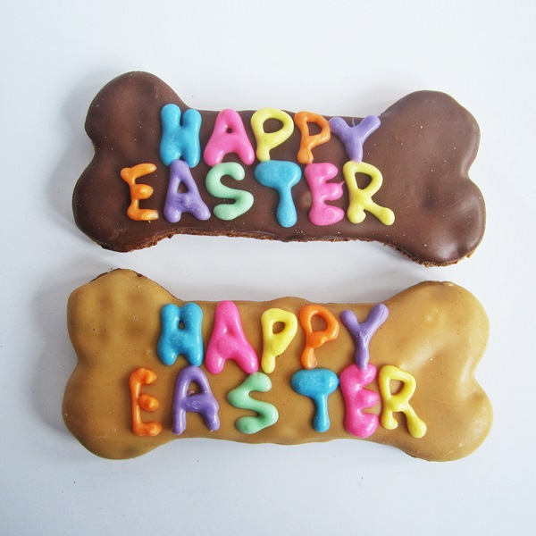 Large Happy Easter Dog Bone Treat