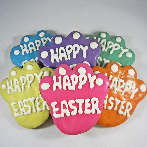 Large Happy Easter Paw Print Dog Treat