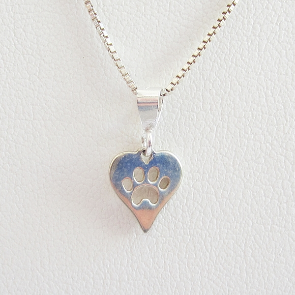 Paw Print Heart Small Sterling Silver Pendant Charm and Necklace