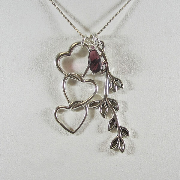 Triple Heart and Branch Briolette Necklace