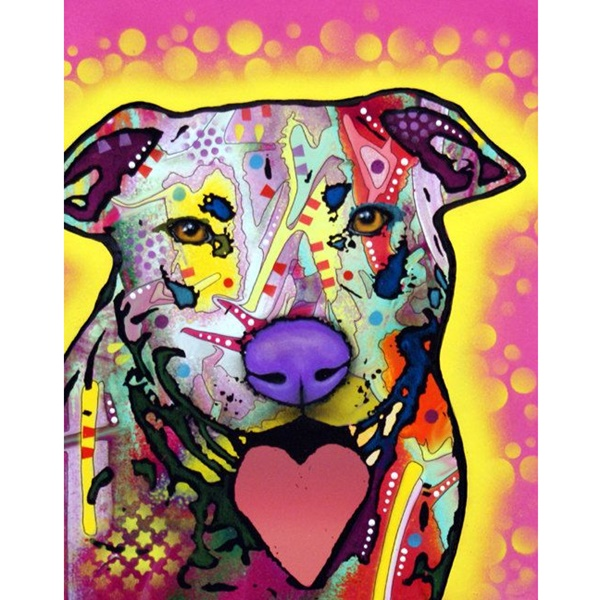 Speak Love Pit Bull Print by Dean Russo - Discontinued
