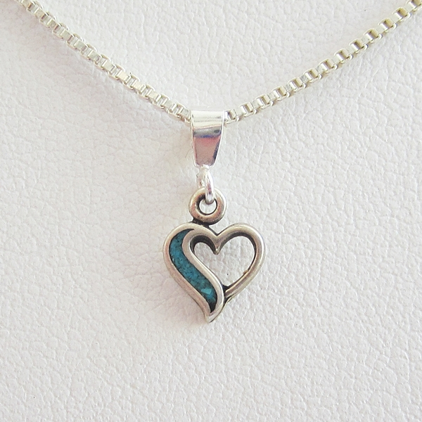 Turquoise Open Heart Sterling Silver Pendant Charm and Necklace