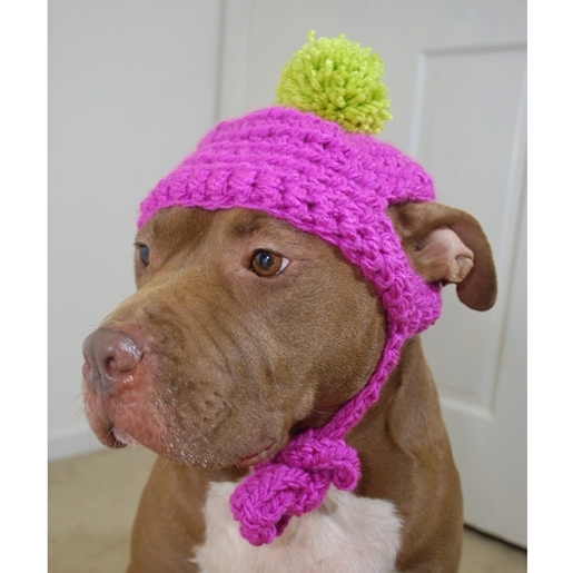 Hot Pink Crochet Hat with Lime Green Pom Pom
