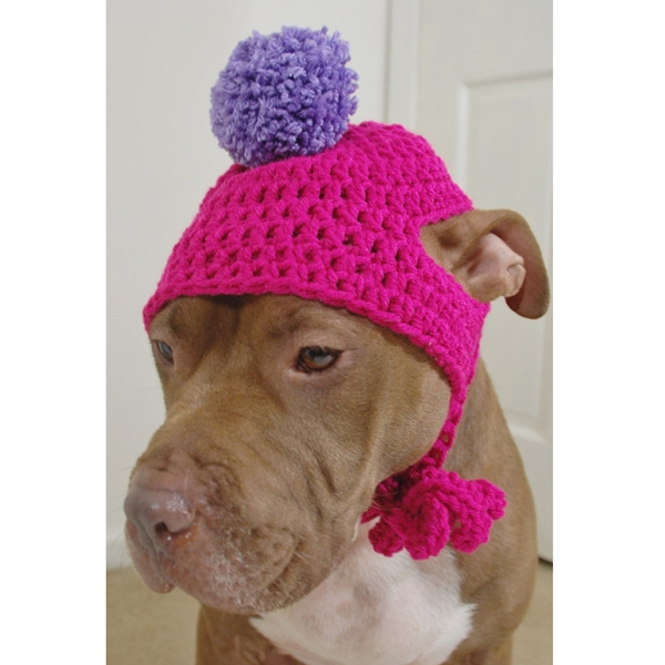 Hot Pink Crochet Hat with Lavender Pom Pom