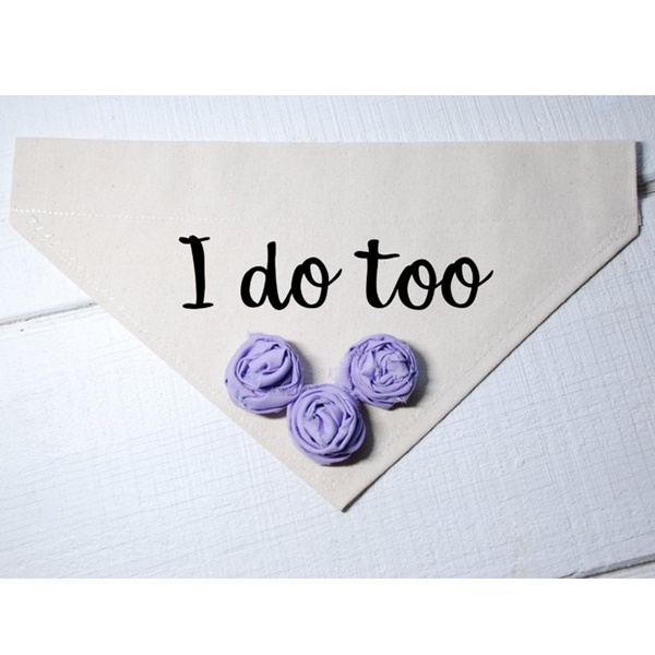 I Do Too Canvas Dog Bandana with Lavender Fabric Flowers