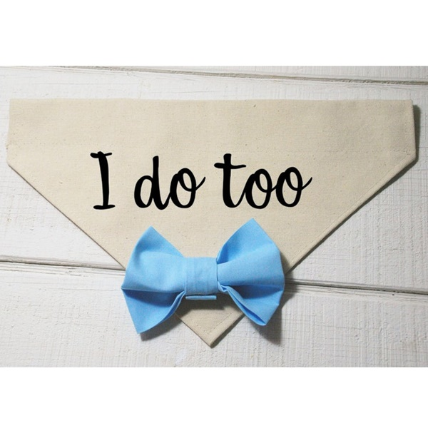 I Do Too with Light Blue Bow Canvas Dog Bandana