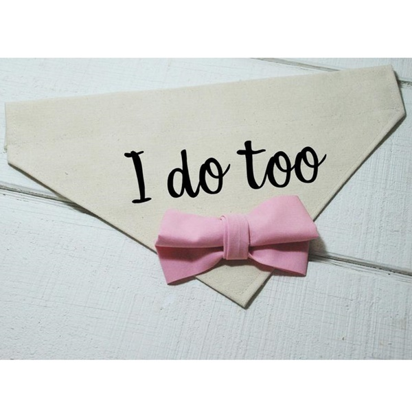I Do Too with Pale Pink Bow Canvas Dog Bandana