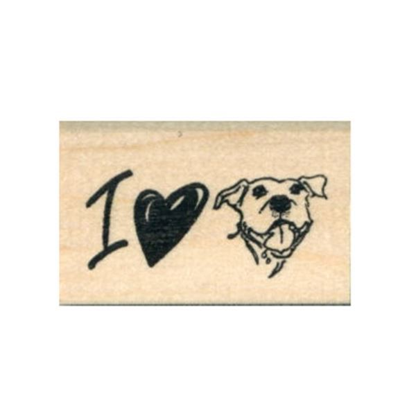 I <3 My Pit Bull Rubber Stamp