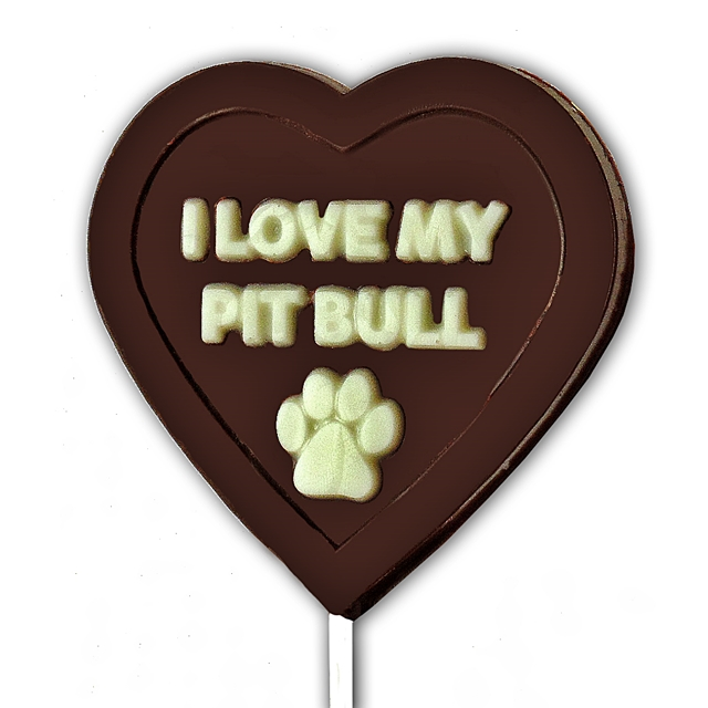 I Love My Pit Bull Chocolate Lollipop Mold - ONLY 1 LEFT