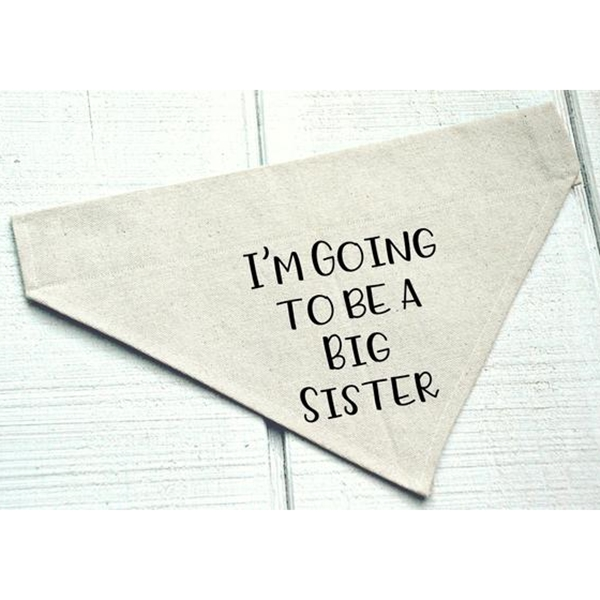 I\'m Going to Be a Big Sister Canvas Dog Bandana
