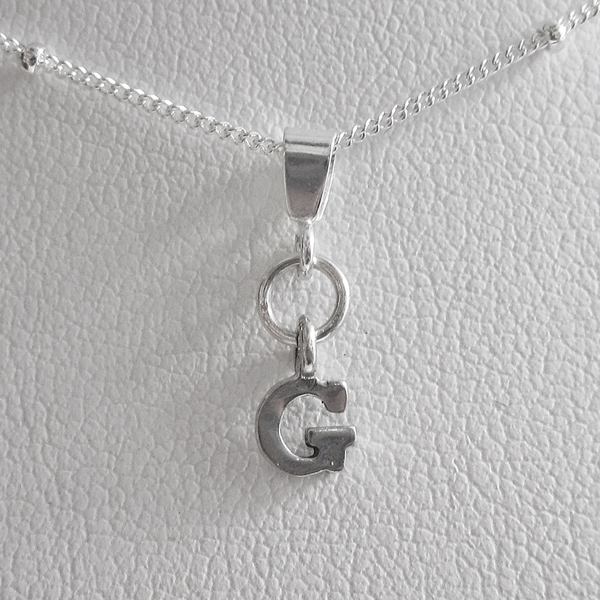 Initial \'G\' Mini Pendant Charm and Necklace