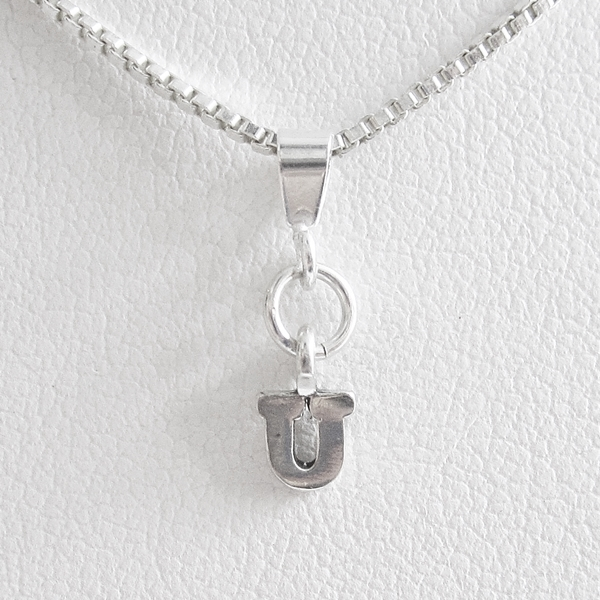 Initial \'U\' Mini Pendant Charm and Necklace
