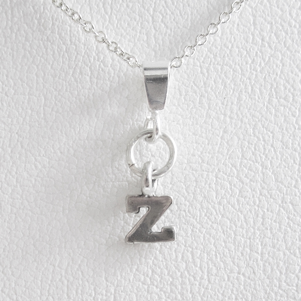 Initial \'Z\' Mini Pendant Charm and Necklace