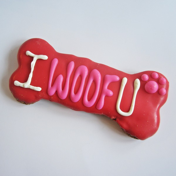 Large I Woof U Dog Bone Treat