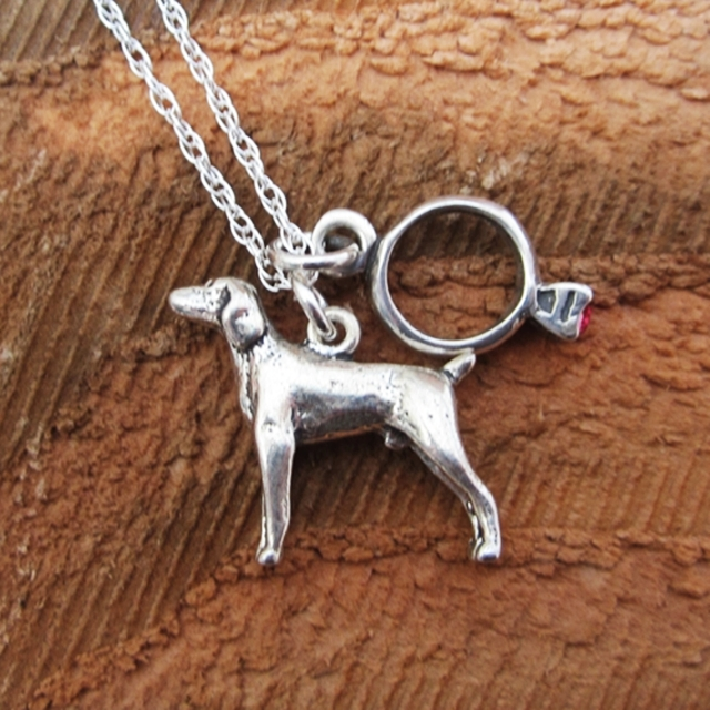 Weimaraner Engagement Ring Large Sterling Silver Necklace