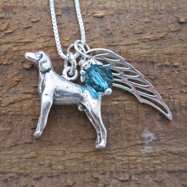 Weimaraner Large Angel Wing Sterling Silver Necklace