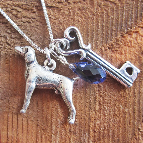 Weimaraner Large Key To My Heart Sterling Silver Necklace