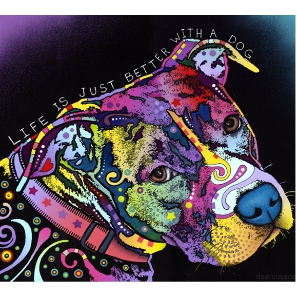 Life is Just Better Pit Bull Print by Dean Russo - Discontinued