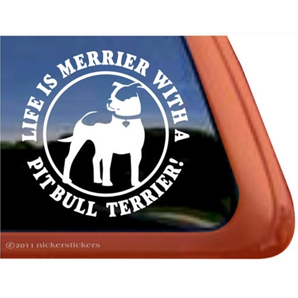 Life is Merrier with a Pit Bull Terrier Standing Large Decal