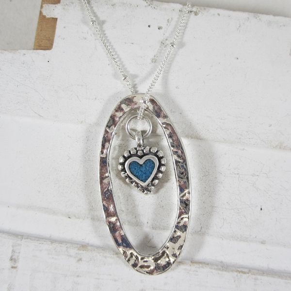 "Love is All Around Necklace on a 24"" Sterling Silver Chain"