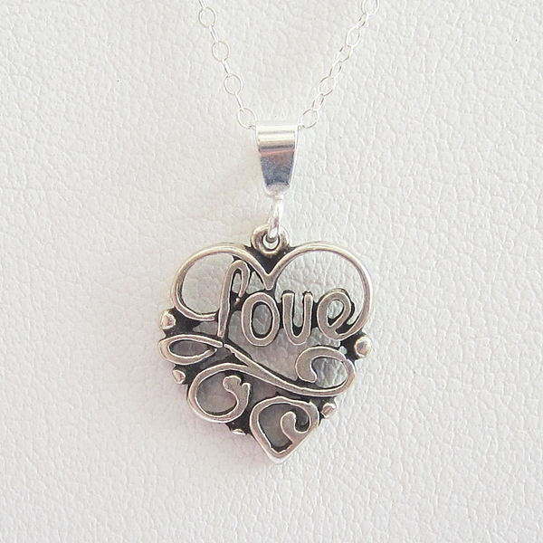 Love Scroll Heart Sterling Silver Pendant Charm and Necklace
