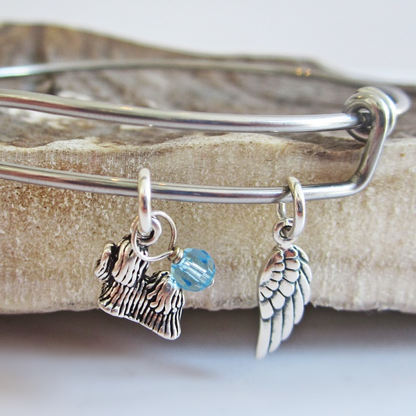 Maltese Mini Angel Wing Stackable Bangle Bracelet