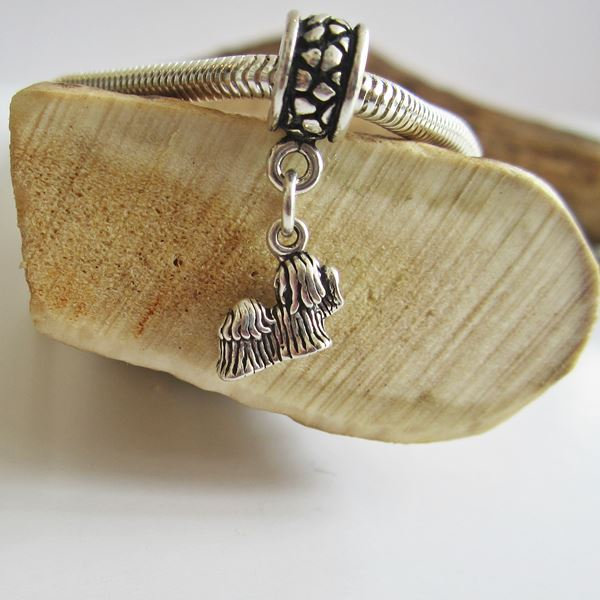 Maltese  Mini Sterling Silver European-Style Charm and Bracelet
