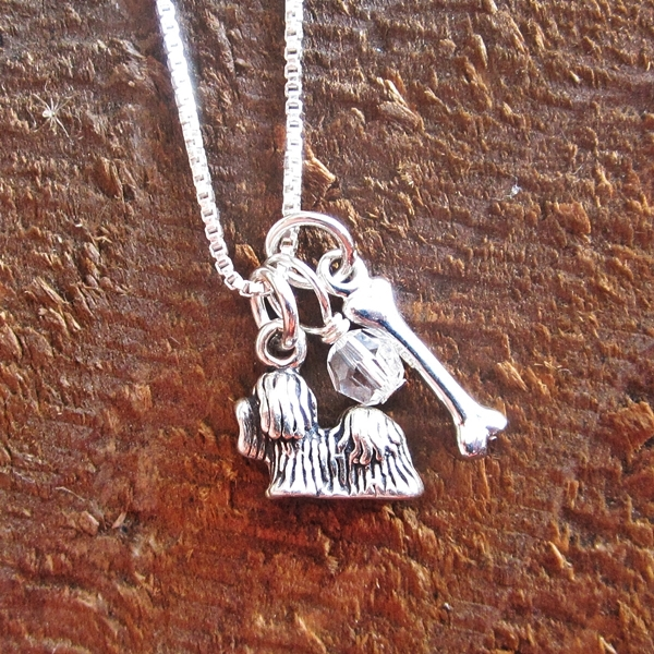 Maltese Dog Bone Mini Sterling Silver Necklace