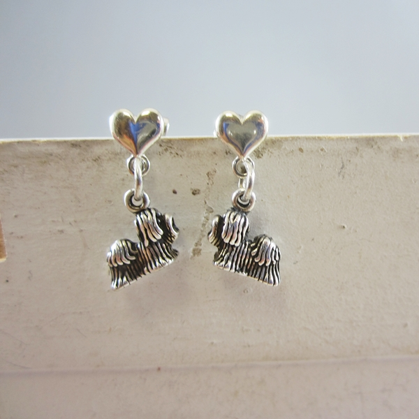 Maltese Mini Heart Sterling Silver Earrings
