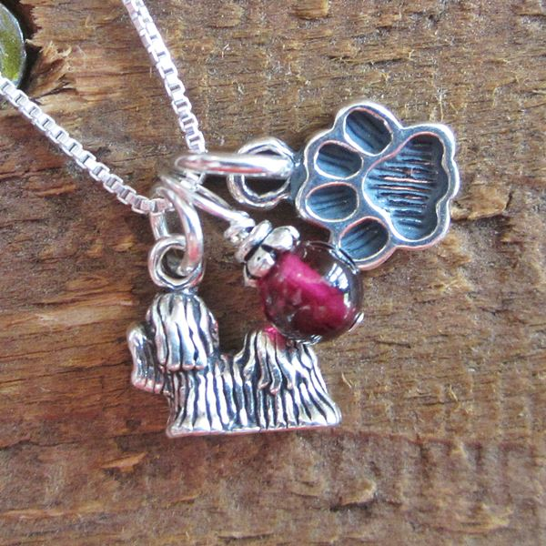 Maltese Mini Paw Print Sterling Silver Necklace