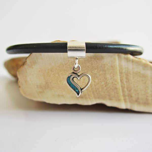 Turquoise Open Heart Sterling Silver Charm and Bracelet