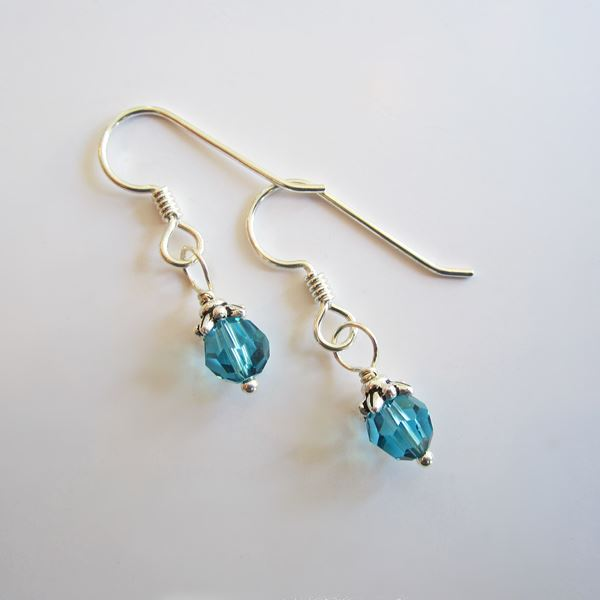 Pacific Blue Swarovski 6mm Crystal Earrings